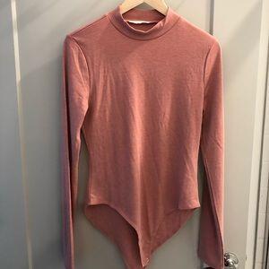 Rose colored mock neck bodysuit